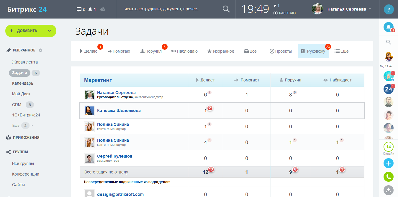 Битрикс24 - планировщик задач и проектов
